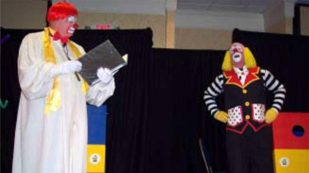 Two clowns performing a skit
