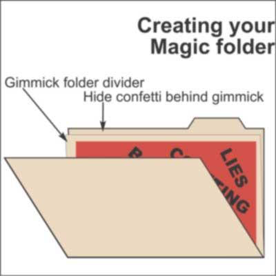 File folder with secret flap
